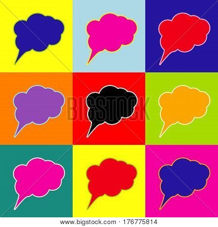 Speach bubble sign illustration. Vector. Pop-art style colorful icons set with 3 colors.