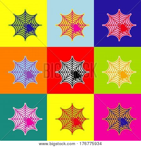 Spider on web illustration Vector. Pop-art style colorful icons set with 3 colors.