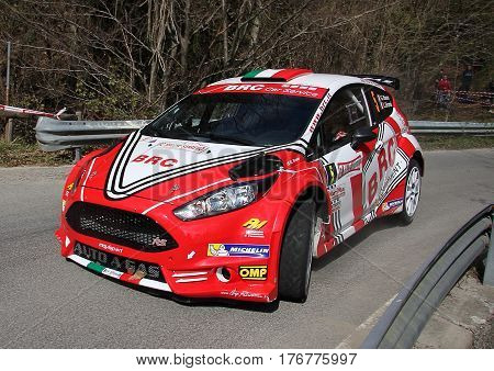 Sanremo Italy - April 11 - 2015.Rally of Sanremo, the Ford Fiesta n. 5 conducted in the race the crew Basso-Barns during a test of speed 'held in the hinterland of Sanremo.La race was valid for the Italian Rally Championship in 2015.