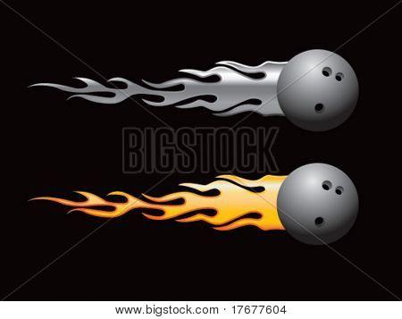silver and gold flaming bowling balls
