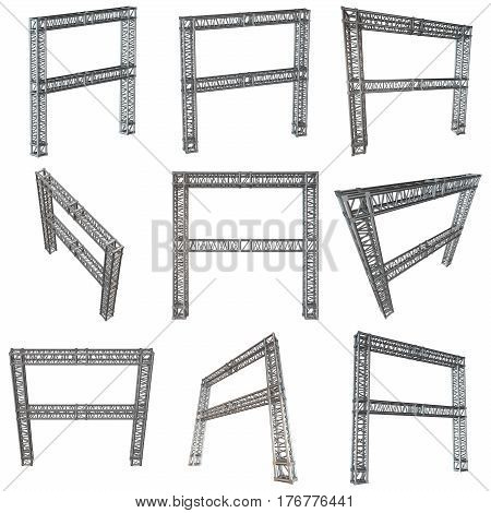 Steel truss girder element banner construction set. 3d render isolated on white