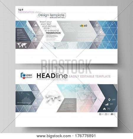 The minimalistic abstract vector illustration of the editable layout of high definition presentation slides design business templates. Polygonal geometric linear texture. Global network, dig data concept.