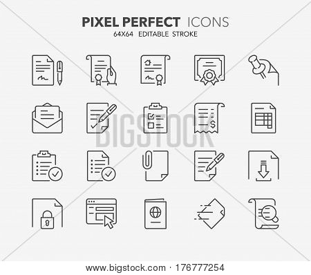 Set of outdoor and ecotourism activities thin line icons. Contains icons as contract certificate attachment invoice deed of sale and more. Editable vector stroke. 64x64 Pixel Perfect.