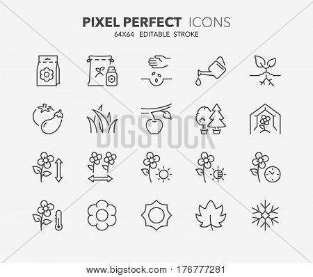 Set of gardening and seeding activities thin line icons. Contains icons as garden lawn flowering time substrate fertilizer seasons and more. Editable vector stroke. 64x64 Pixel Perfect.