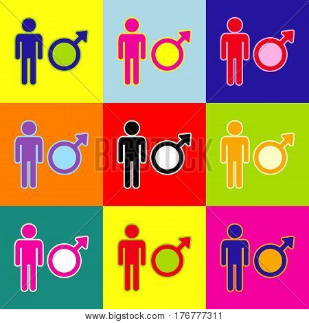 Male sign illustration. Vector. Pop-art style colorful icons set with 3 colors.