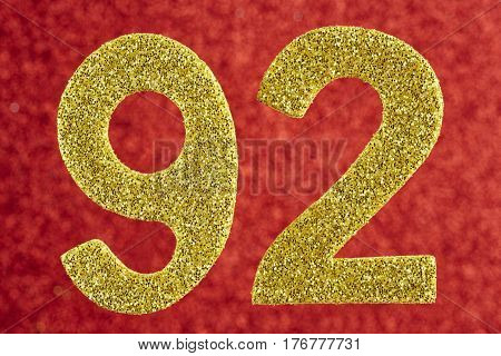Number ninety-two yellow color over a red background. Anniversary. Horizontal