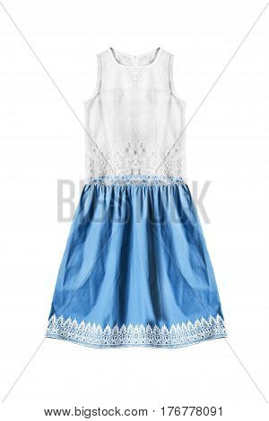 Cotton lacy white and blue sleeveless dress on white background