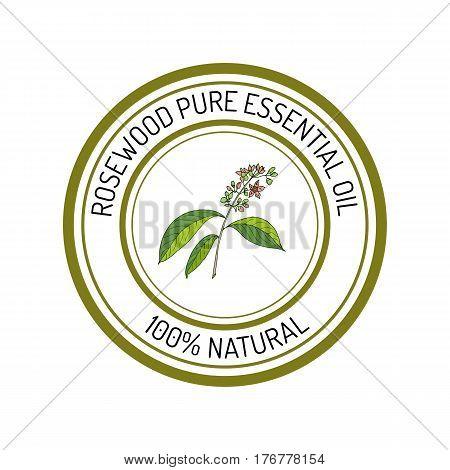 rosewood, essential oil label, aromatic plant Vector illustration