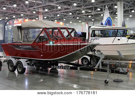 MOSCOW - MARCH 09 2017: Boat Weldcraft Renegade 600 FX for 10 International boat show in Moscow. Russia.