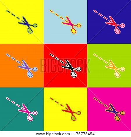 Scissors sign illustration. Vector. Pop-art style colorful icons set with 3 colors.