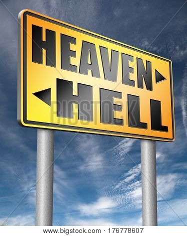 heaven or hell, good or bad devils and angels salvation from evil save your soul and spirit ban the devil and demons search and find Jesus and God  3D, illustration