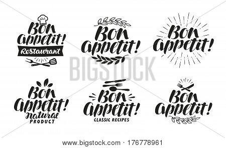 Bon appetit, label. Lettering for menu design restaurant or cafe. Vector illustration isolated on white background