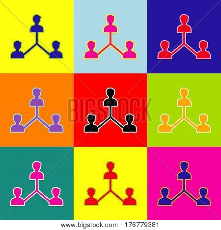 Social media marketing sign. Vector. Pop-art style colorful icons set with 3 colors.
