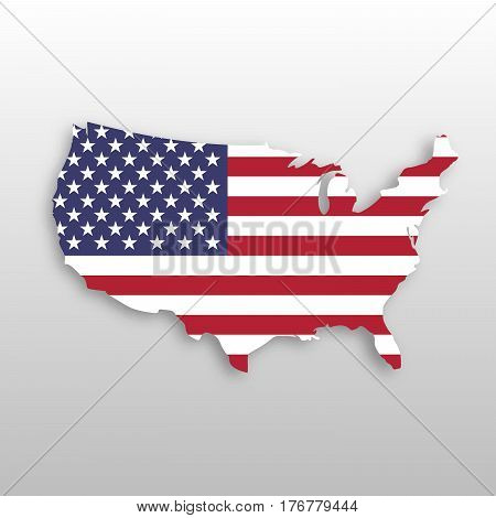 USA flag in a shape of US map silhouette. United States of America symbol. EPS10 vector illustration with dropped shadow on grey gradient background.