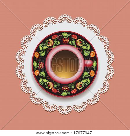 Coffee set for one person. Lace doily. Vector illustration with a Cup of coffee and hand drawn on a saucer, on paper and on the background. The national pattern. Ukraine.