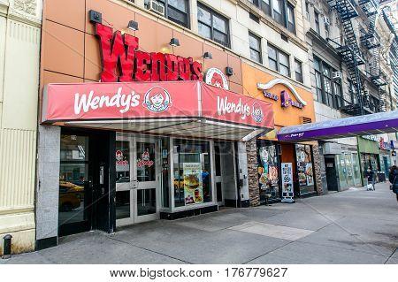 New York March 11 2017: A Wendy's fast food restaurant on 14th street in Manhattan.