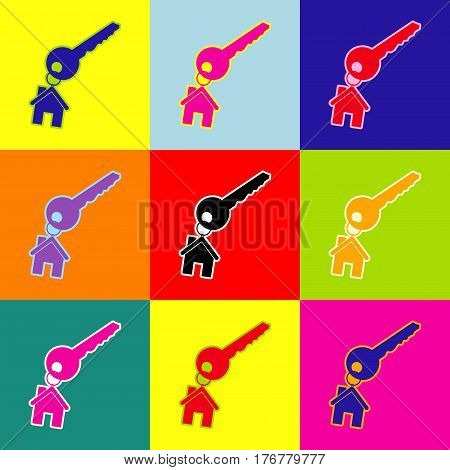key with keychain as an house sign. Vector. Pop-art style colorful icons set with 3 colors.