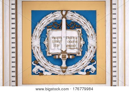 ROME, ITALY - SEPTEMBER 05: Sword symbol of Saint Paul, stucco decoration, basilica of Saint Paul Outside the Walls, Rome, Italy on September 05, 2016.