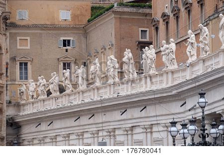 ROME - SEPTEMBER 05: Gallery of saints, fragment of colonnade of St. Peters Basilica. Papal Basilica in Vatican - world largest church, is the center of Christianity in Rome, on September 05, 2016.