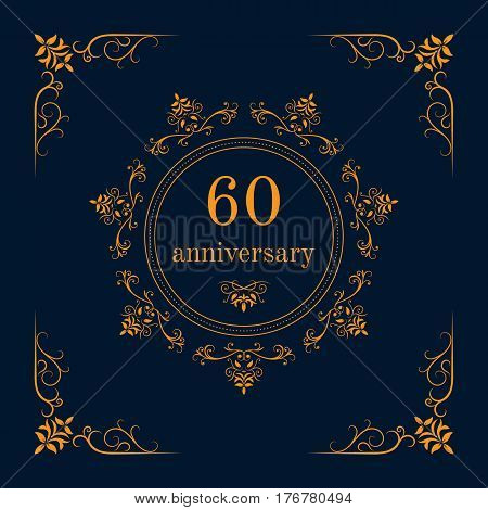 60 year anniversary celebration card,  anniversary background. Vector illustration