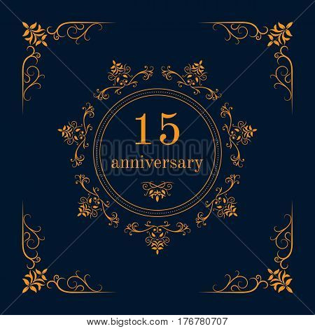 15 year anniversary celebration card,  anniversary background. Vector illustration