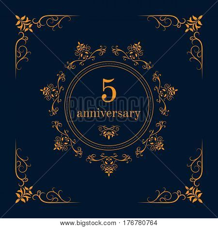 5 year anniversary celebration card,  anniversary background. Vector illustration