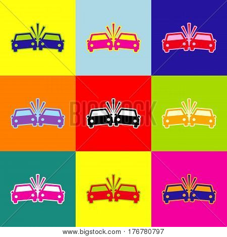 Crashed Cars sign. Vector. Pop-art style colorful icons set with 3 colors.