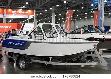 MOSCOW - MARCH 09 2017: Boat Victory V 490 open for 10 International boat show in Moscow. Russia.