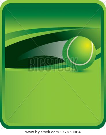 green sports message board with soaring tennis ball
