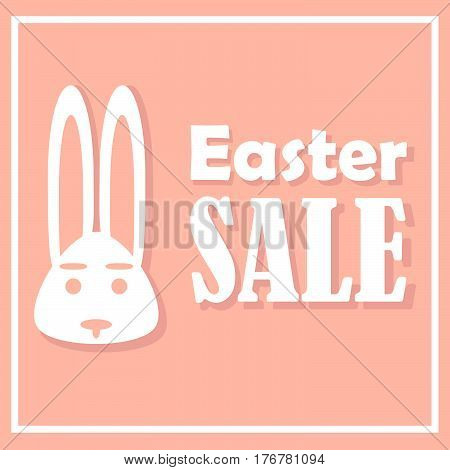 Easter card with sales on a holiday with a stylish design a rabbit on a pink background is depicted accompanied by shadows. With a simple thin rectangular frame.