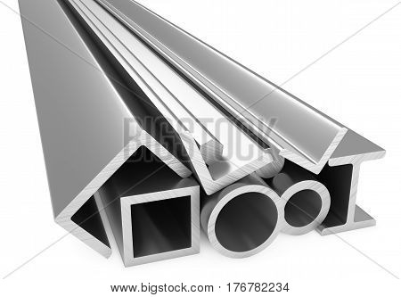 Metallurgical industry products - rolled metal steel products (pipes profiles girders bars balks and armature) on white industrial 3D illustration