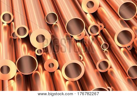 Metallurgical industry production and non-ferrous industrial products abstract illustration - many different various sized stainless metal shiny copper pipes closeup industrial background 3D illustration