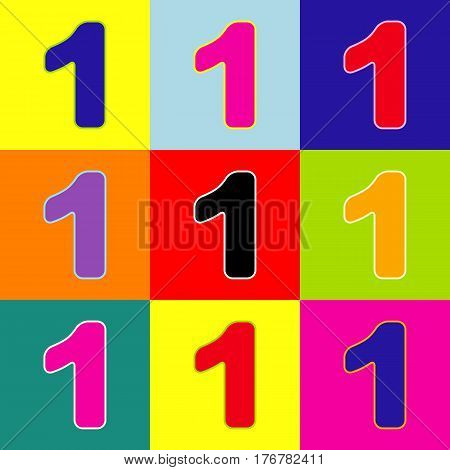 Number 1 sign design template element. Vector. Pop-art style colorful icons set with 3 colors.