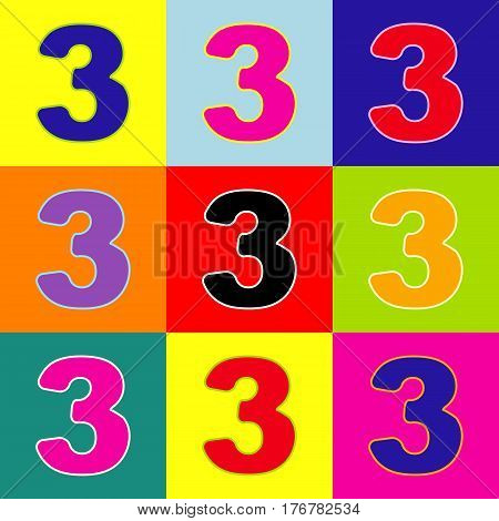 Number 3 sign design template element. Vector. Pop-art style colorful icons set with 3 colors.
