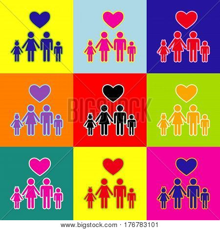 Family symbol with heart. Husband and wife are kept children's hands. Love. Vector. Pop-art style colorful icons set with 3 colors.