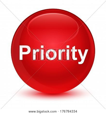 Priority Glassy Red Round Button