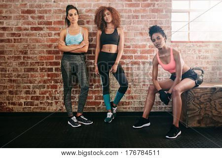 Mixed Race Female Friends In Gym