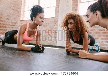 Group Of Females Exercising At The Gym