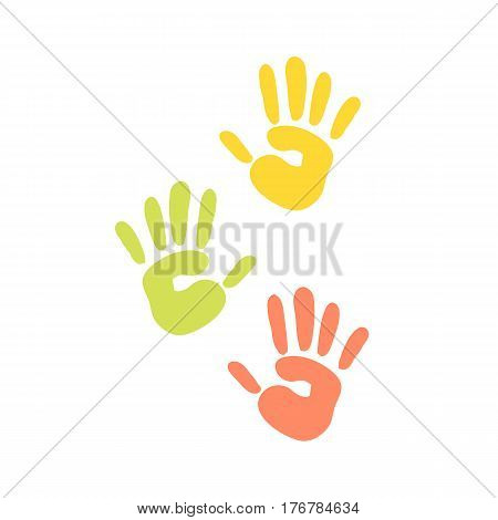 Abstract background prints of hands of the child vector illustration pattern art finger ink color palm trace colorful design thumb symbol. Made signs for creation game.