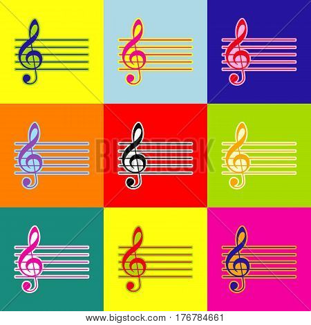 Music violin clef sign. G-clef. Vector. Pop-art style colorful icons set with 3 colors.