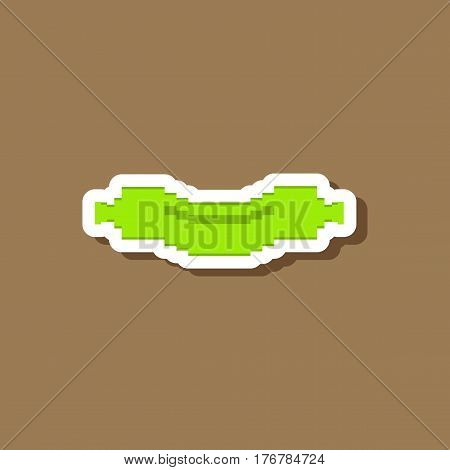 sausage paper sticker on stylish background unhealthy