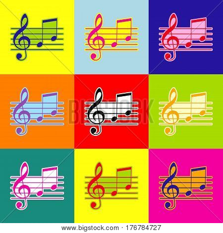 Music violin clef sign. G-clef and notes G, H. Vector. Pop-art style colorful icons set with 3 colors.