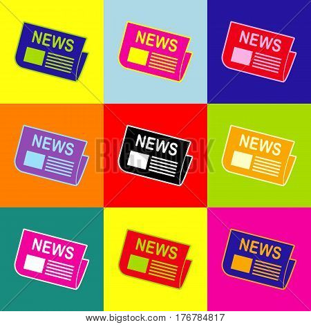 Newspaper sign. Vector. Pop-art style colorful icons set with 3 colors.