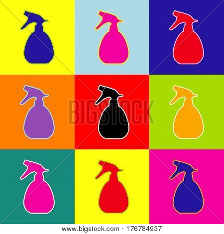 Spray bottle for cleaning sign. Vector. Pop-art style colorful icons set with 3 colors.