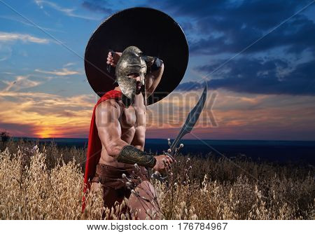Warrior in helmet and red cloak with shield going in attack. Soldier with bare torso like spartan or antique roman holding sword over head. Dark sky over field.