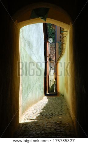 The String Street (rope Street) Is The Narrowest Street In The City Of Brasov, Romania