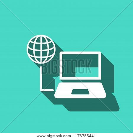 laptop globe icon stock vector illustration flat design