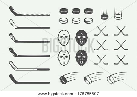 Set of vintage hockey elements in retro style. Puck hockey stick flying puck. Graphic Art. Vector Illustration.