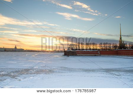 St.Petersburg - 03/17/2012: Peter and Paul Fortress on the river bank, Neva ice-bound