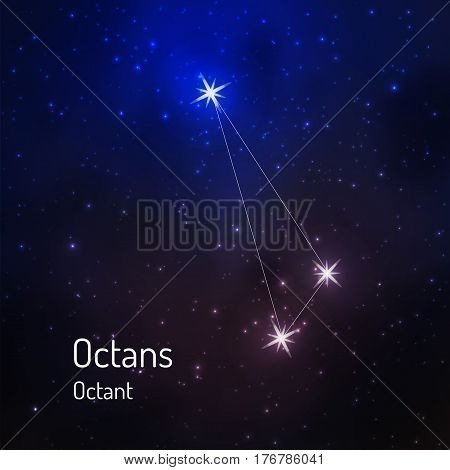 Octans, octant constellation in the night starry sky. Vector illustration